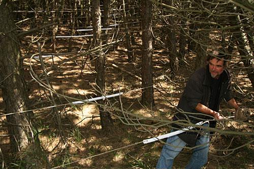 Arno Neufeld mit seiner Schwebebrücke, die hier einen neuen Weg durch den Wald leitet