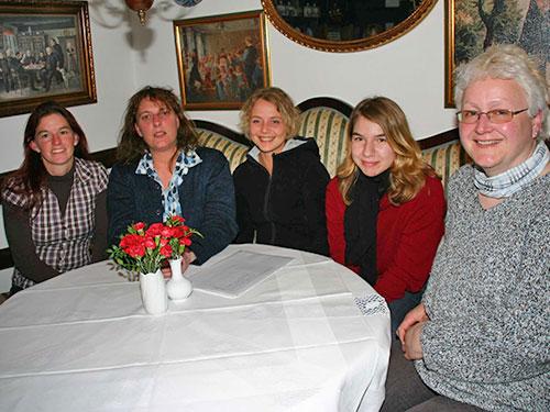 vl. Steffi Wollny, Birte Jochimsen, Hanne Bötel, Mia Fischer, Heike Zimmermann