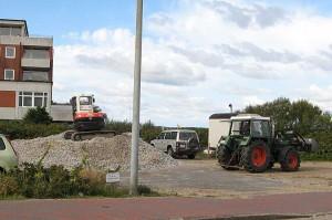 Das Filet-Grundstück... noch Lagerplatz für die Baumaterialien