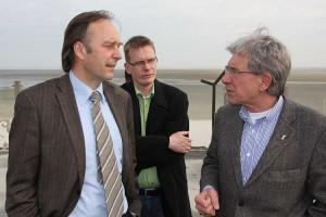 Martin Hamm im Gespräch mit Wittdüns Bürgermeister Jürgen Jungclaus