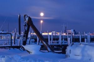 Mondaufgang über dem Seezeichenhafen (Lückel)