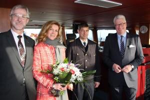 Manfred Müller-Fahrenholz, Karima Meynköhn, Christ Tholund, Axel Meynköhn auf der Brücke