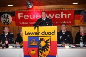 Amtswehrführer Joachim Christiansen in gewohnt spaßigem Redeschwall