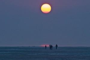 Nach Feierabend schnell mal zum Sonnenuntergang an den Strand...