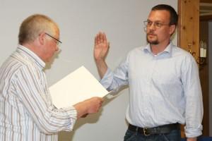 Christoph Decker bei der Vereidigung als stellvertretender Bürgermeister