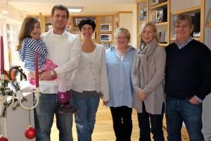 v.l.n.r.: Paula, Lars und Katrinna Isemann, Kartin Grohnert, Annette und Per Isemann