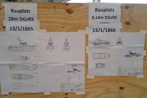 Die Pläne hängen schon in der Werfthalle am Bauplatz...