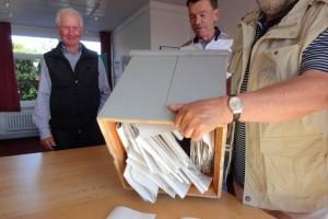 Öffnen der Wahlurne...
