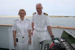 Staffkapitänin Claudia Kemkes und Kapitän Elmar Mühlebach