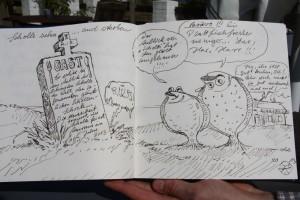 Kunst auch im Gästebuch: Karweicks Schollikarituren