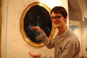 """Zu groß für den kleinen Geldbeutel? Er kann es auch kleiner malen. """"Meeresleuchten"""" von Felix Karweick ging weg für 1.400 Euro."""