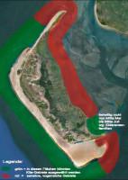 Als naturschutzfachlich unkritisch (grün) wird der Bereich von der Pfahlreihe am Kniephaken bis zum nördlichen Ende des Norddorfer Strandes und die Steenodder Bucht betrachtet, sofern Rastvögel und die Eiderentenschonzeit beachtet werde. Als naturschutzfachlich kritisch (rot) wird die Wittdüner Kniepbucht und der Bereich von Steenodde bis um die Amrumer Odde betrachtet (Quelle: Google Earth)