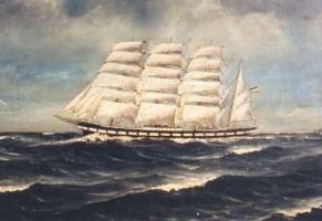 """Viermastbark """"Kurt"""", Kpt. Wilhelm Tönissen. Eines der vielen """"Martens-Schiffsbilder"""""""