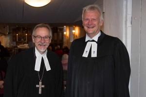 Propst Dr. Kay-Ulrich Bronk und Pastor Georg Hildebrandt beim Abschlussgottesdienst, Foto: Kinka Tadsen