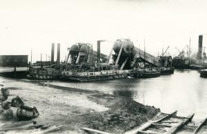 Der Amrumer Hafen als Station für den Bau des Hindenburgdamms