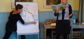 """""""Lesewoche"""" auf Amrum – Autorin Sabine Ludwig und Illustratorin Sabine Wilharm ließen die Herzen der kleinen Leseratten sichtbar höher schlagen…"""